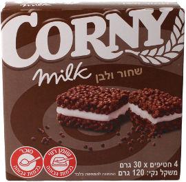 קורני שחור ולבן חטיף דגנים בטעם שוקולד עם 30% מילוי קרם חלב