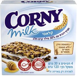 קורני קלאסי חטיף דגנים עם 30% מילוי קרם חלב