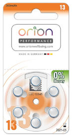 ORION סוללות מכשירי שמיעה גודל 13 תוצרת גרמניה