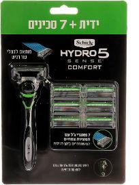 שיק היידרו 5 סנס מכשיר גילוח רב פעמי לעור רגיש + סכינים