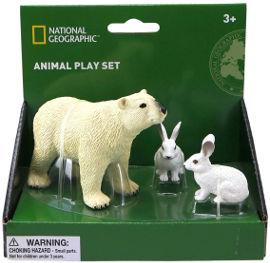 National Geographic מארז חיות קוטב- דוב קוטב ו-2 ארנבי שלג