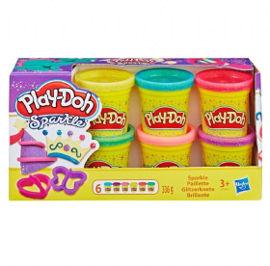 Play-Doh סט מנצנץ 6 צבעים 2 צורות פליידו