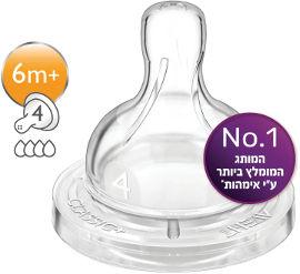 אוונט פטמה לבקבוק קלאסיק+ זרימה מהירה מס' 4