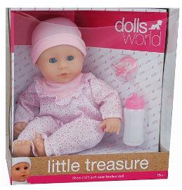 DOLLS WORLD בובת תינוקת אוצר קטן ורוד