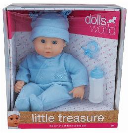DOLLS WORLD בובת תינוקת אוצר קטן תכלת