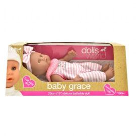 DOLLS WORLD בובת תינוקת גרייס עור כהה לאמבטיה