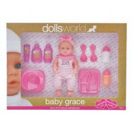 DOLLS WORLD בובת תינוקת גרייס לאמבטיה עם אביזרים