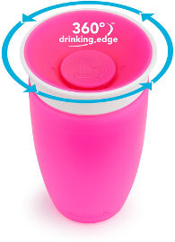 Munchkin כוס הפלא 360 - 296 מל צבע ורוד -  1209601