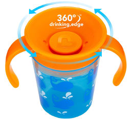 Munchkin כוס הפלא 360 - 177 מל - עם ידית צבע כחול  29401