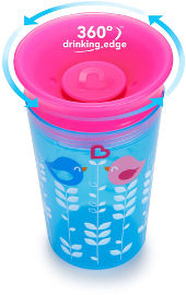 Munchkin כוס הפלא 360 - 266 מל צבע כחול ורוד-  29501