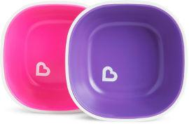 Munchkin קערות אוכל בשני צבעים סגול ורוד 12446