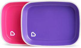 Munchkin צלחות אוכל בשני צבעים סגול ורוד 12447