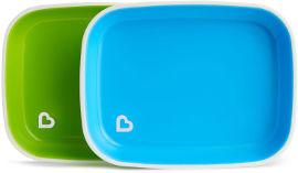 Munchkin צלחות אוכל בשני צבעים כחול ירוק 12447