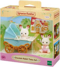 משפחת סילבניאן ערכת תאומים עם עגלה ארנב שוקולד