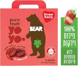 BEAR חטיף 100% פרי שילדים אוהבים בטעם תות