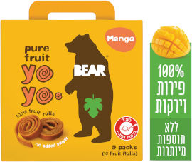 BEAR חטיף 100% פרי שילדים אוהבים בטעם מנגו