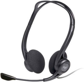LOGITECH אוזניות חוטיות + מיקרופון מובנה PC960