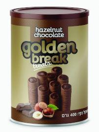 גולדן ברייק גליליות וופלים ממולאות קרם אגוזים וקקאו