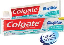 קולגייט מקס וייט משחת שיניים לנשימה רעננה עם קריסטלים לבנים