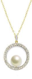 קריסטל סברובסקי שרשרת חישוק עשויה מכסף בציפוי זהב ומשובצת פנינה מרכזית