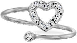 קריסטל SWAROVSKI טבעת לב פתוחה הניתנת להתאמה למידה הרצויה משובצת קריסטל