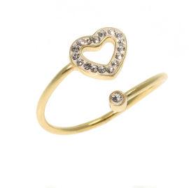 SWAROVSKI טבעת לב עשויה מכסף בציפוי זהב משובצת קריסטלים