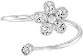 קריסטל סברובסקי טבעת פרח מכסף בציפוי רודיום ומשובצים קריסטלים