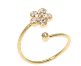 SWAROVSKI טבעת פרח עשויה מכסף בציפוי זהב משובצת קריסטלים