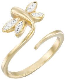 SWAROVSKI טבעת פרפר עשויה מכסף בציפוי זהב משובצת קריסטלים