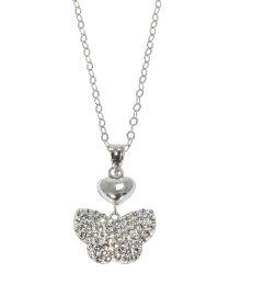 קריסטל סברובסקי שרשרת פרפר משולבת עם תליון לב עשויה מכסף בציפוי רודיום ומשובצת קריסטלים