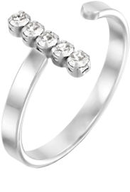 קריסטל סברובסקי טבעת שורה מכסף בציפוי רודיום ומשובצים קריסטלים