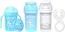 "TWISTSHAKE מארז לידה 0-6 חודשים בנים - 2 בקבוקים 180 מ""ל, נשכן קולר, כוס אימון 230 מ""ל"