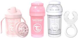 "TWISTSHAKE מארז לידה 0-6 חודשים בנות - 2 בקבוקים 180 מ""ל, נשכן קולר, כוס אימון 230 מ""ל"