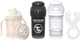 "TWISTSHAKE מארז לידה 0-6 חודשים יוניסקס - 2 בקבוקים 180 מ""ל, נשכן קולר, כוס אימון 230 מ""ל"