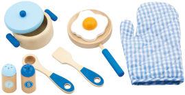 Viga סט כלי מטבח מעץ + כפפה כחול