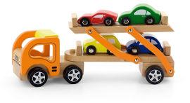Viga מוביל מכוניות מעץ עם 4 מכוניות