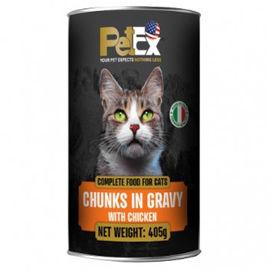 PETEX שימורי מזון מלא לחתולים עם נתחי בשר עוף