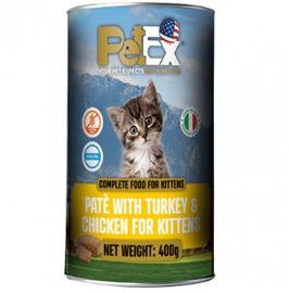 PETEX שימורי מזון מלא לגורי חתולים במרקם פטה עם בשר עוף והודו ללא דגנים וללא גלוטן
