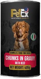 PETEX שימורי מזון מלא לכלבים עם נתחי בשר בקר