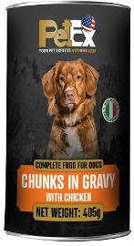 PETEX שימורי מזון מלא לכלבים עם נתחי בשר עוף