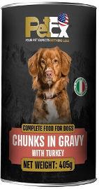 PETEX שימורי מזון מלא לכלבים עם נתחי בשר הודו