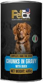 PETEX שימורי מזון מלא לכלבים עם נתחי בשר ברווז