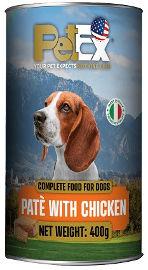 PETEX שימורי מזון מלא לכלבים במרקם פטה עם בשר עוף