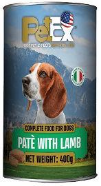 PETEX שימורי מזון מלא לכלבים במרקם פטה עם בשר כבש