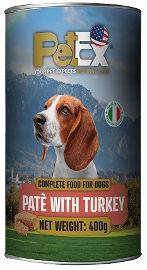 PETEX שימורי מזון מלא לכלבים במרקם פטה עם בשר הודו