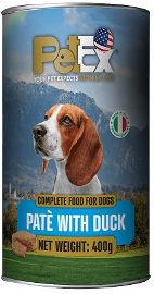 PETEX שימורי מזון מלא לכלבים במרקם פטה עם בשר ברווז