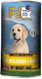 PETEX שימורי מזון מלא לגורי כלבים במרקם פטה עם בשר עוף