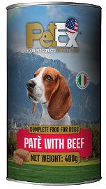 PETEX שימורי מזון מלא לכלבים במרקם פטה עם בשר בקר