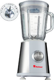 Selmor בלנדר 1 ליטר עם כוס זכוכית ושישה להבים כותשי קרח 350W דגם 431 לבן