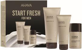 AHAVA START FRESH סט ג'ל רחצה מינרלי + קרם ידיים + קרם לאחר גילוח